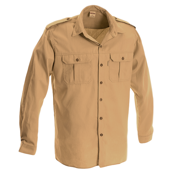 Ruggedwear Eland Long Sleeve Khaki Bushveld Rangers Safari Shirt. 7.5oz We are proudly South African
