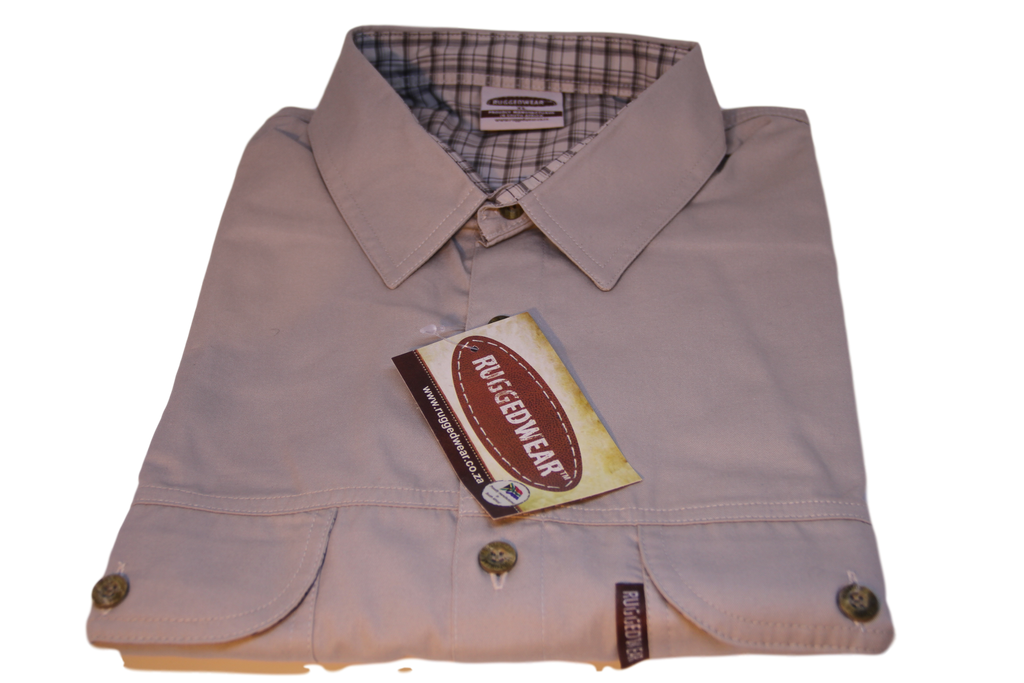 Ruggedwear Impala Short Sleeve Safari Shirt. Stone & Olive 4.5 oz We are proudly South African - The Walkabout Company