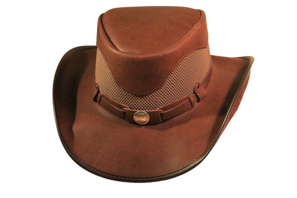 Buffalo Nickle Brown Oiled Leather Mesh Hat. 100% Made in USA Born Proud New 2019 - The Walkabout Company