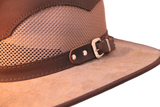 Western Mesh by Walkabout. Leather & Custom Buckle/Coolmax Fabric Brim & Crown - The Walkabout Company