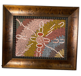 Original Aboriginal Dot Painting Hand framed in custom frame to match 12 x14 with Letter of Authenticity - The Walkabout Company