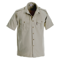 Ruggedwear Maun Short Sleeve Safari Shirt. Stone & Olive 6.5 oz We are proudly South African - The Walkabout Company