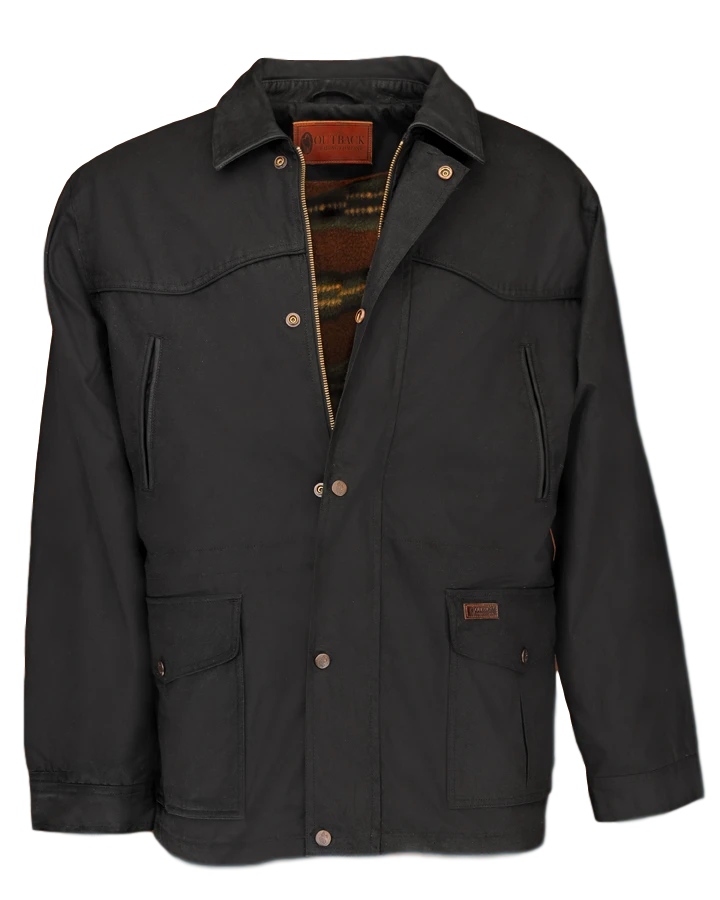 Waterproof Oilcloth Pathfinder Jacket Black Large and Small save $30.00 - The Walkabout Company