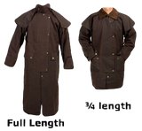 Snowy River Short 3/4 Length Riding Coat. Outback Trail Waterproof Oilcloth Duster Coat