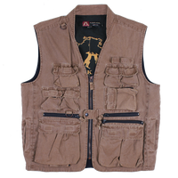 Multi Pocket Vest , worn Oilcloth Gravel Canvas  12 oz - The Walkabout Company