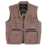 Multi Pocket Vest , Fishing, Travel, Hunting Gun worn Oilcloth Gravel Canvas  12 oz Now in big sizes - The Walkabout Company
