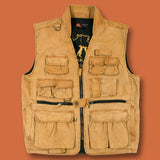 Multi Pocket 12 oz Vest , worn Oilcloth Gravel Canvas - The Walkabout Company