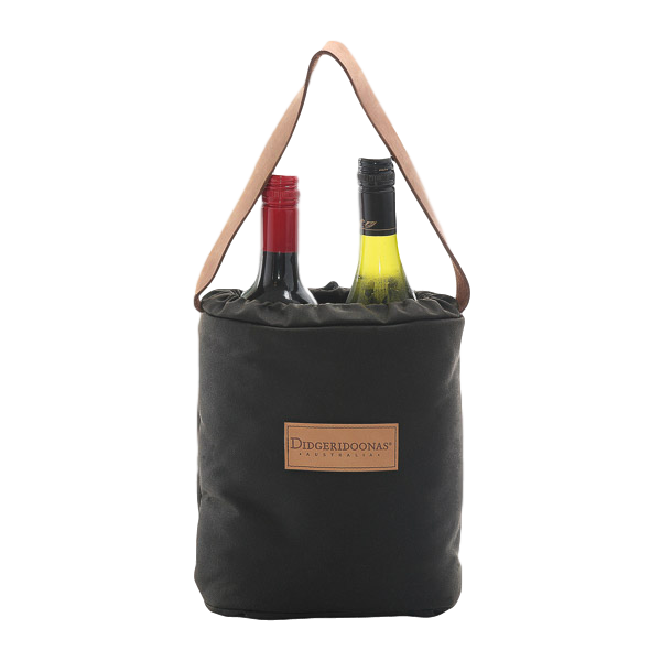 Wine / Drink Bottle Carrier Bag. Made in Australia insulated Oilcloth wool lined - The Walkabout Company