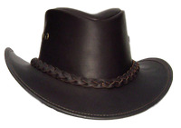 Australian Premium Leather Hat. Full Grain Waterbuffalo Gambler Style from Down Under - The Walkabout Company