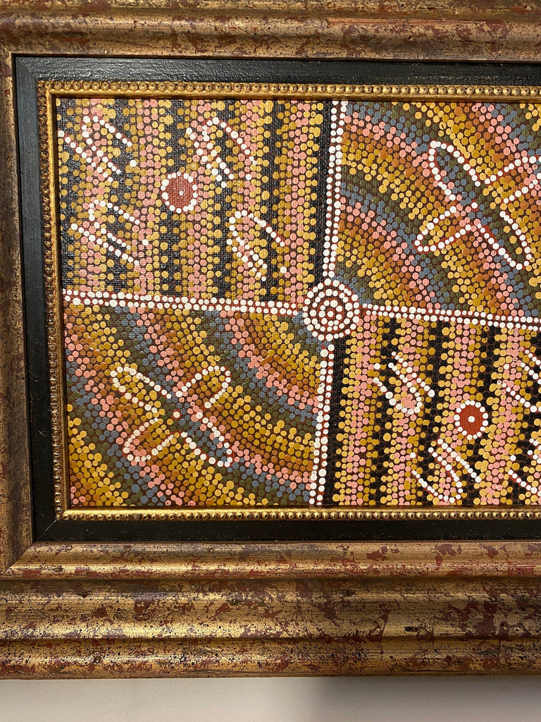 Original Aboriginal Dot Painting Custom hand made Frame 12 x 14 with Letter of Authenticity - The Walkabout Company