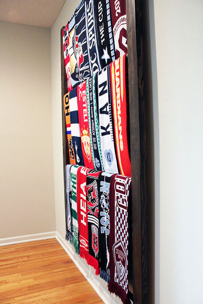 Nou Soccer Scarf Display Rack Side View