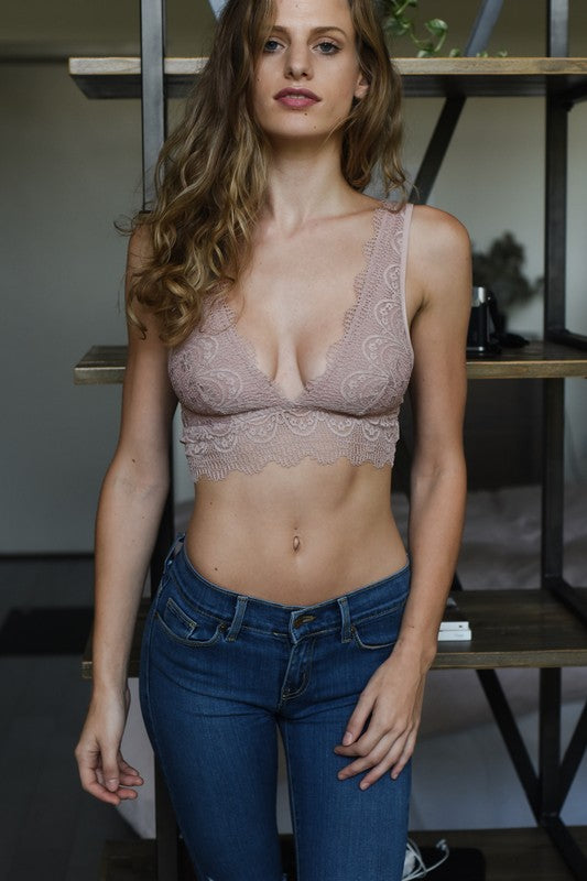 So Fine Lace Bralette Rose
