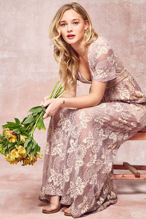 Dusty Rose Lace Maxi
