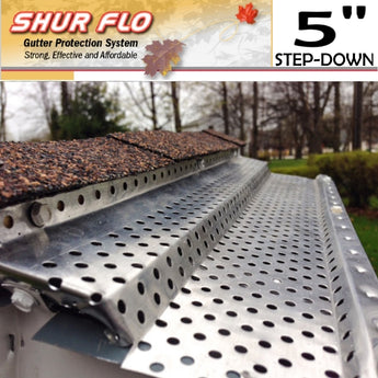 "[268] 5"" Shurflo Step-Down Aluminum Leaf Guard Gutter Covers"