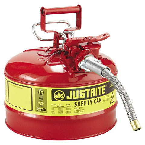 Justrite 7225120 2.5 Gallon Type II Red Safety Can
