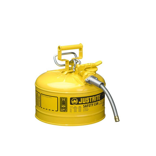 "Justrite AccuFlow 7225220 Type II Galvanized Steel Safety Can with 5/8"" Flexible Spout, 2.5 Gallon Capacity, Yellow"
