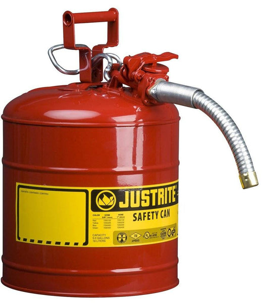 Justrite 7250130 5 Gallon Type II Red Safety Can