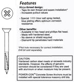 "1/4 X 1-3/4"" Flat Head Phillips 