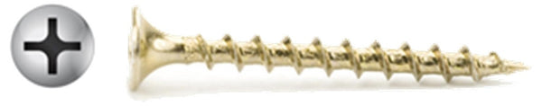 "#6 X 1"" Phillips Bugle Yellow Drywall Screws Coarse Thread"
