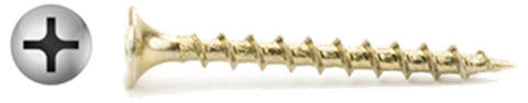"#6 X 1-5/8"" Phillips Bugle Yellow Drywall Screws Coarse Thread"