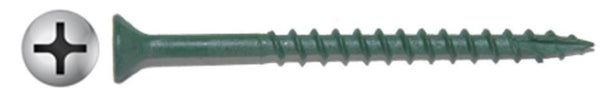 "#7 X 1-1/4"" Phillips Flat Green Deck Screw Long Life"