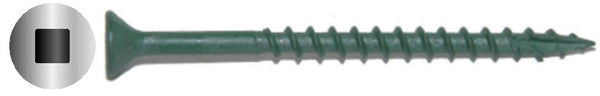 "#7 X 1-1/4"" Square Drive Flat Green Deck Screw Long Life"