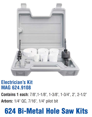 Mag-Bit 9108 Electrician's Hole Saw Kit | 1 Piece