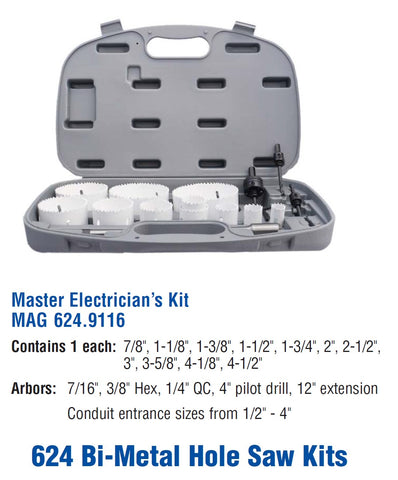 Mag-Bit 9116 Master Electrician's Hole Saw Kits | 1 Piece