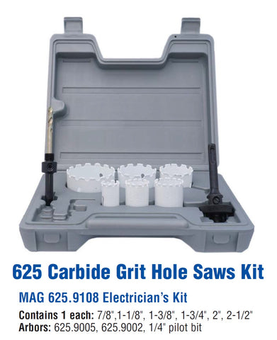 Mag-Bit 625.9108 Carbide-Grit Hole Saw Electrician's Kit