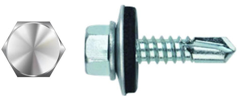 "#8 X 1-1/2"" Hex Washer Head Self-Drilling Screw Neoprene"