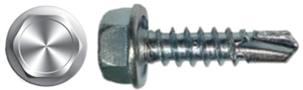 "#10 X 1 "" High-Hat Hex Head Self-Drilling Screw Zinc"