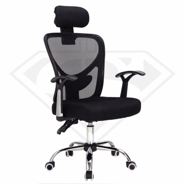 Modern Mesh Office Armchair 360 Degree Swivel With Headrest United States / Black