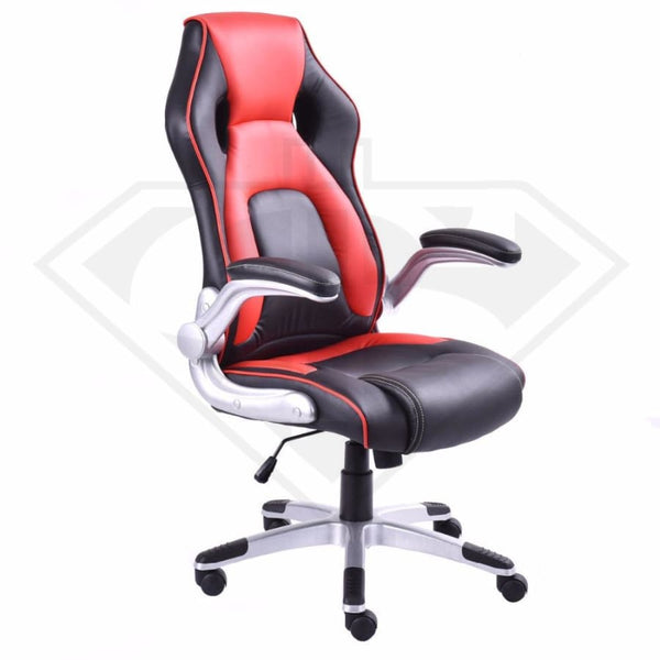 Red Leather Racing Car Style Bucket Seat Folding Arm Gaming Chair Office