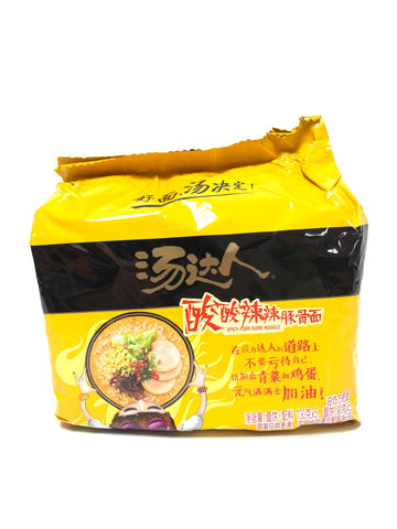 汤达人酸酸辣辣豚骨拉面140gx5 Instant Noodle with spicy pork bone Soup Base