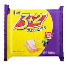 康师傅3+2饼干 果香蓝莓味 375g Master Kang Blueberry Flavor cookie