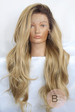 Blonde Synthetic Hair Lace Front Wig With Dark Roots