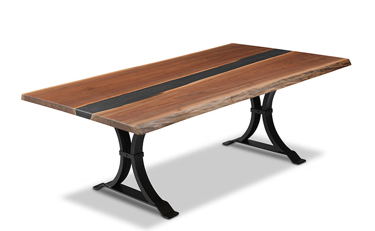 Black Epoxy Resin Walnut River Table | Price $4,200 | Black Epoxy Resin River | Sturdy Metal Legs | Live Edge Black Walnut Wood | Handcrafted In Ohio