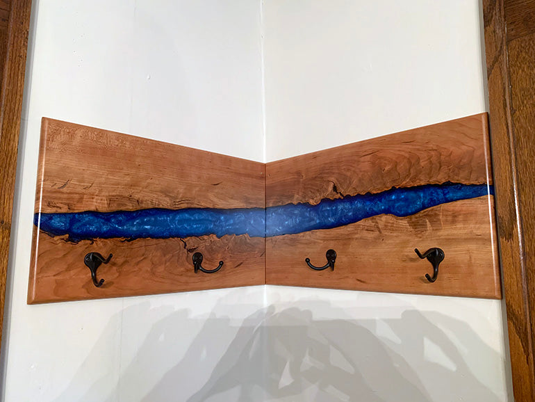 Epoxy Resin Cherry Coat Hanger | Price $800 | Blue Epoxy Resin River | Steel Coat Hooks | Live Edge Cherry Wood | Handcrafted In Ohio