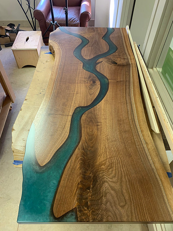 Live Edge River Counter Top With Turquoise Resin
