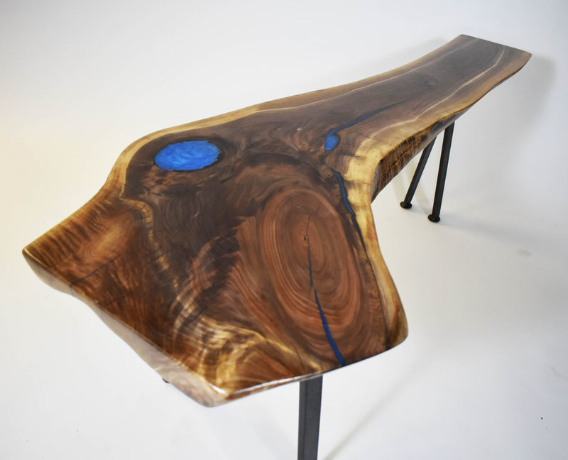 Live Edge Walnut Bench With Blue Epoxy Resin
