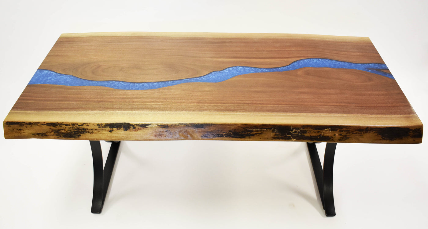 Buy A Walnut River Table For $2,400 | Blue Epoxy & Metal Legs