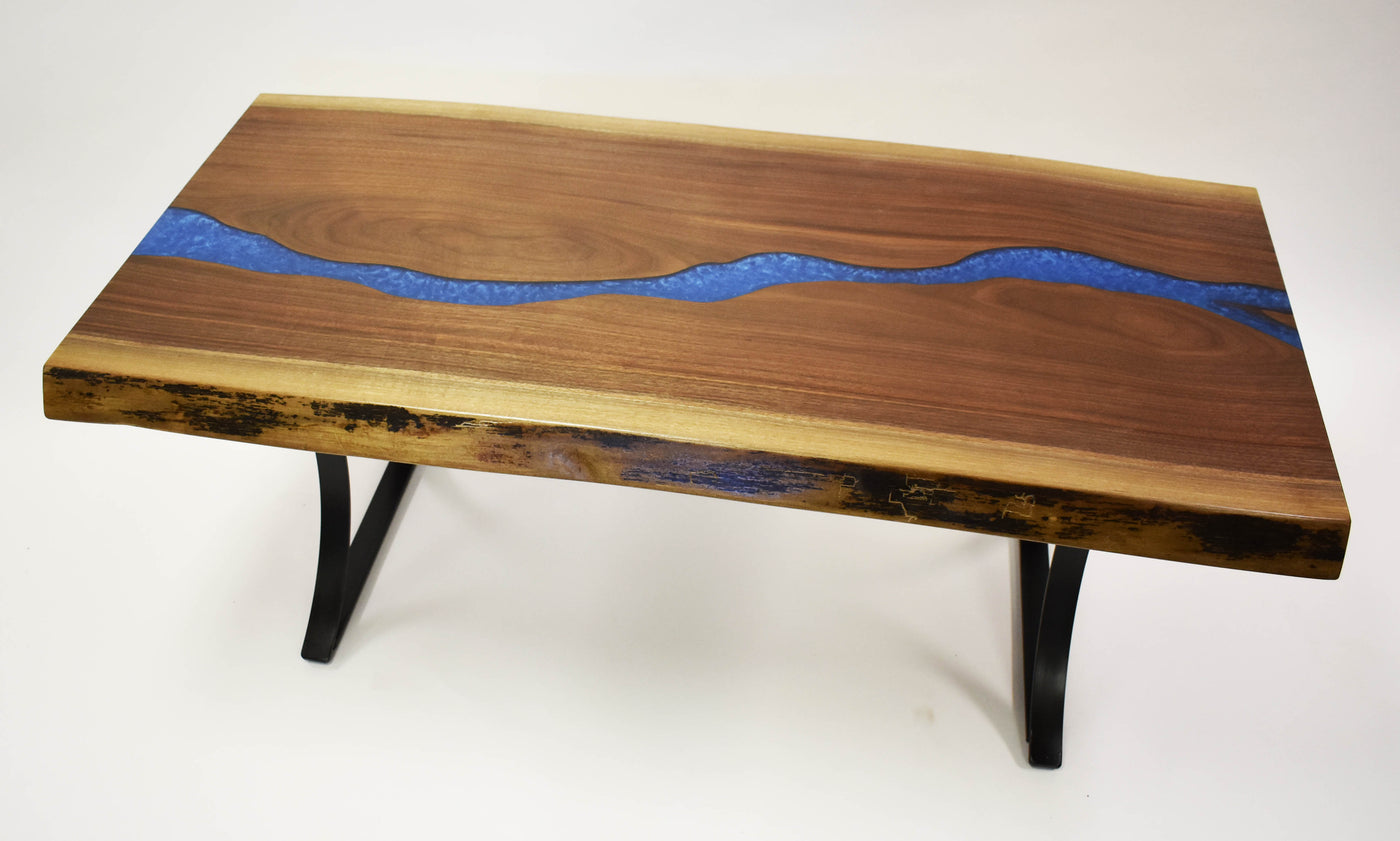 Manmade River Coffee Table Live Edge Walnut Blue Epoxy Resin