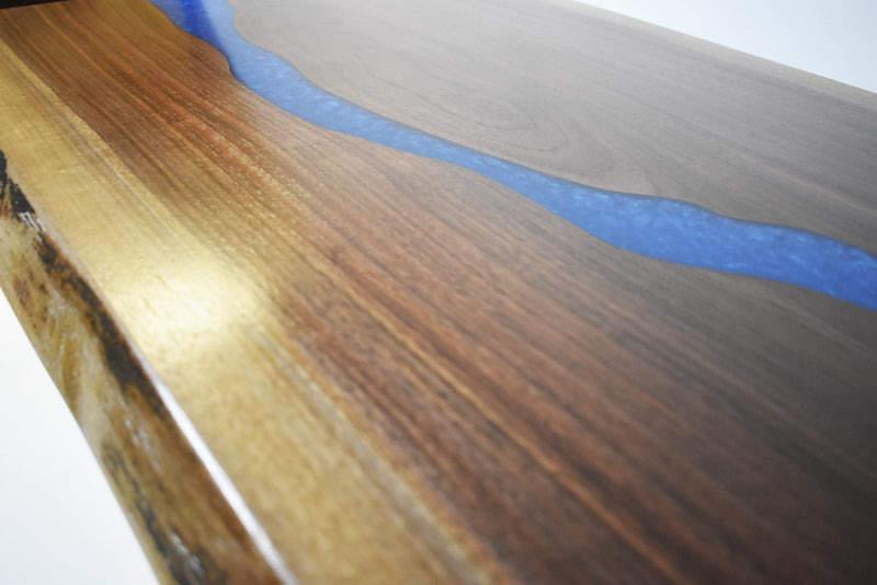 Manmade River Coffee Table | Live Edge Walnut | Blue Epoxy Resin