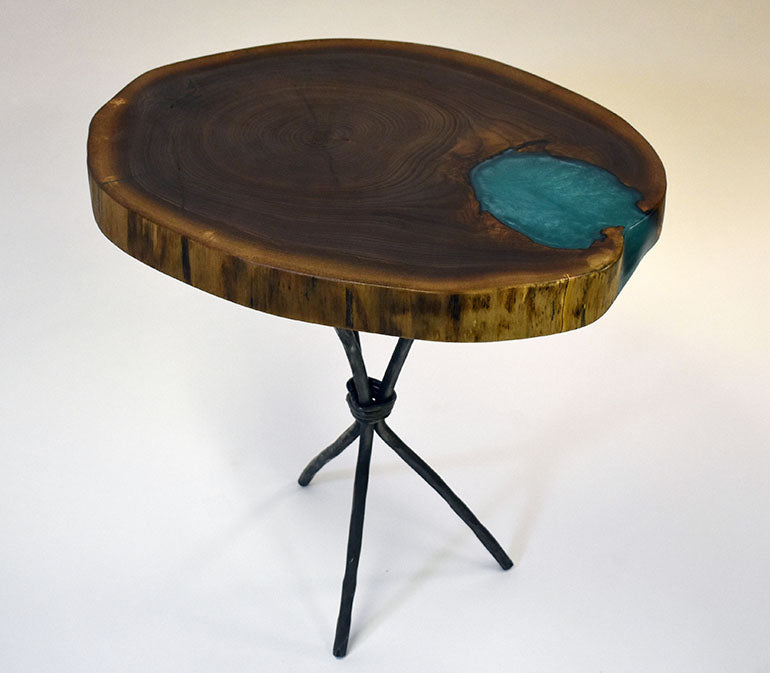 Live Edge Walnut Tree Trunk Table With Epoxy Resin