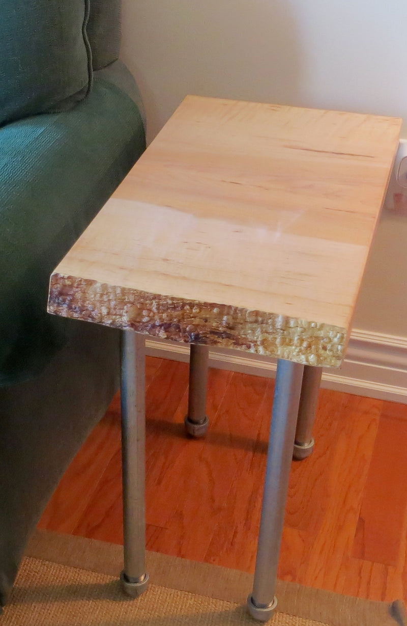 Live Edge Tiger Maple Side Table