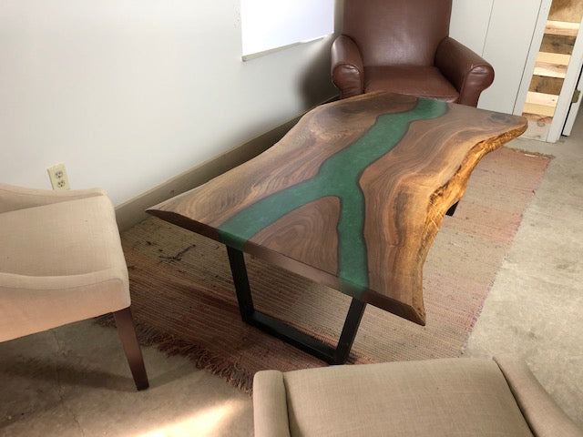 "Live Edge Walnut Coffee Table With Green Epoxy Resin | Price $3,650 | Black Walnut Wood | Green ""River"" Table 