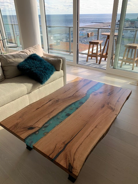 Cherry Epoxy Resin Coffee Table With Seashells | Price $3,950 | Blue River Table | Live Edge Cherry | Handcrafted In Ohio