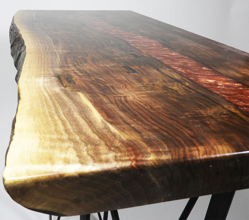 Live Edge Walnut Red Epoxy Accent or Hallway Table