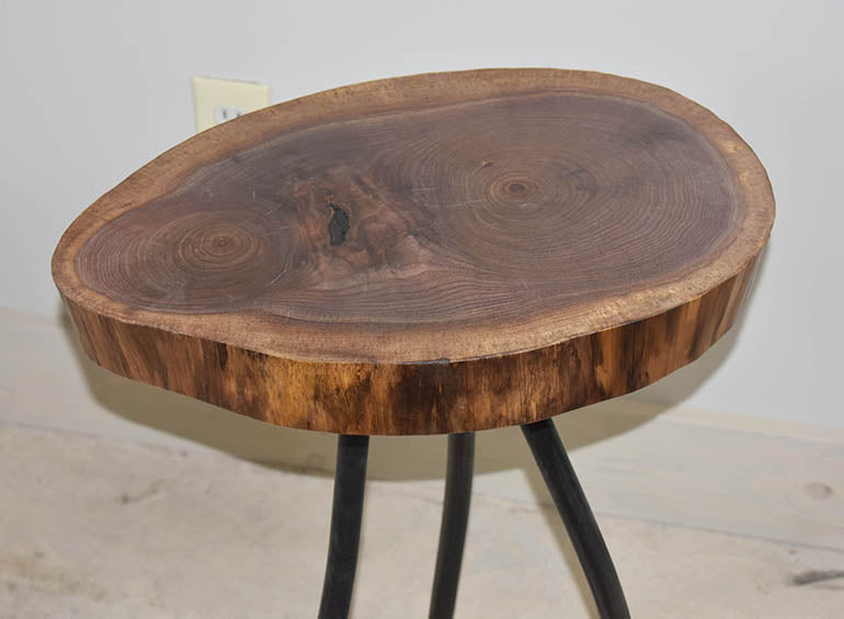 Live Edge Wood Cross Section Side Table