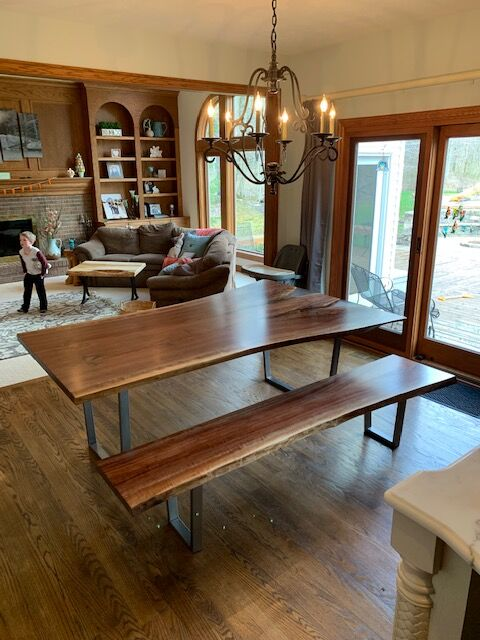 Live Edge Walnut Epoxy Resin Dining Table With Bench
